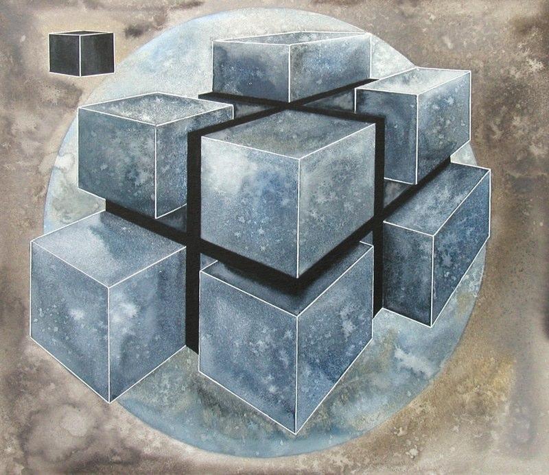 Fragmented Cube 45.5 x 39cms, Lynda Bird Clark