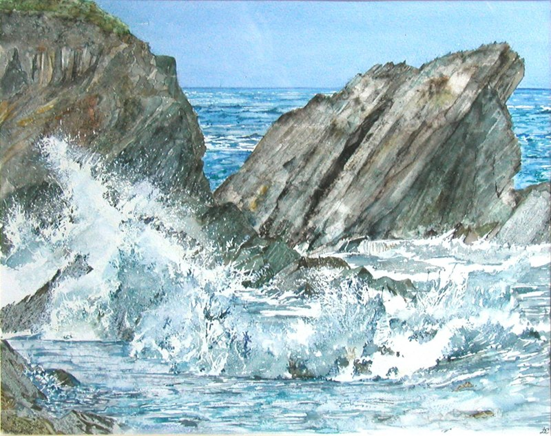 Hartland Quay 43 x 34cms, Lynda Clark, Artist