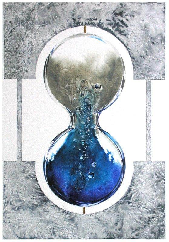 Hourglass Blue 33.5 x 49cms, Lynda Bird Clark