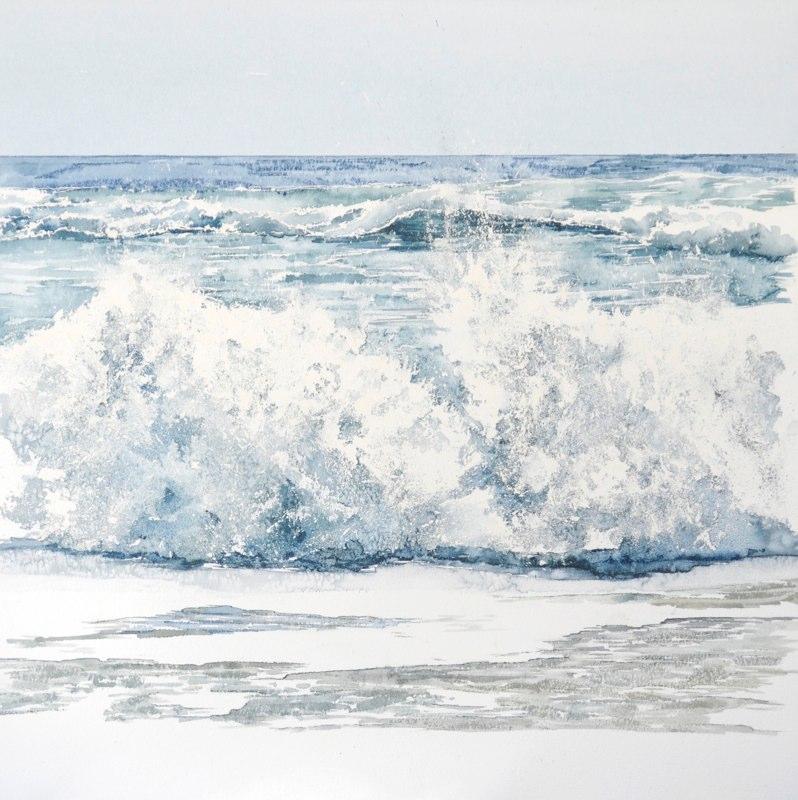 Lacanau Sea 48 x 48cms, Lynda Bird Clark