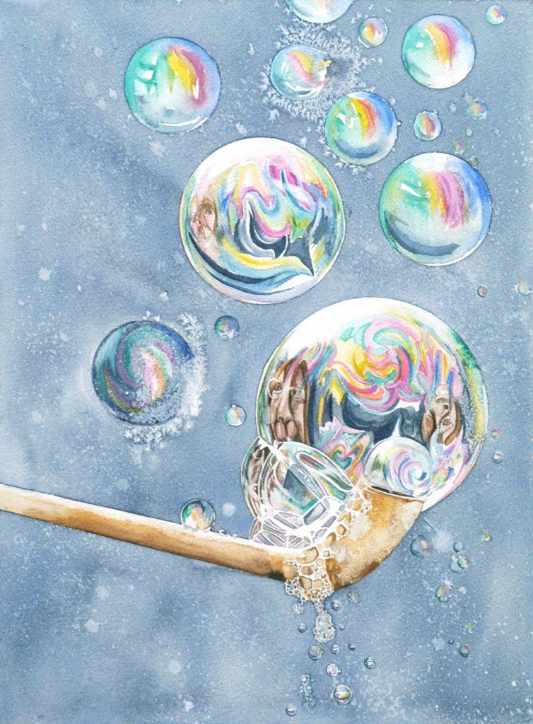 Pipe Bubbles Blue, Lynda Clark, Artist