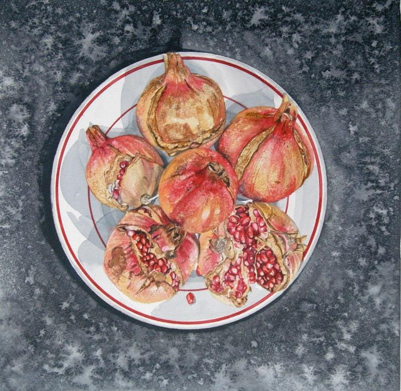Pomegranates 38.5 x 38cms, Lynda Bird Clark
