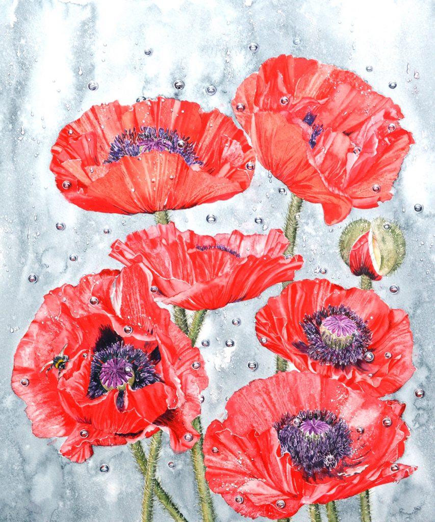 Poppies in the Rain, Lynda Bird Clark
