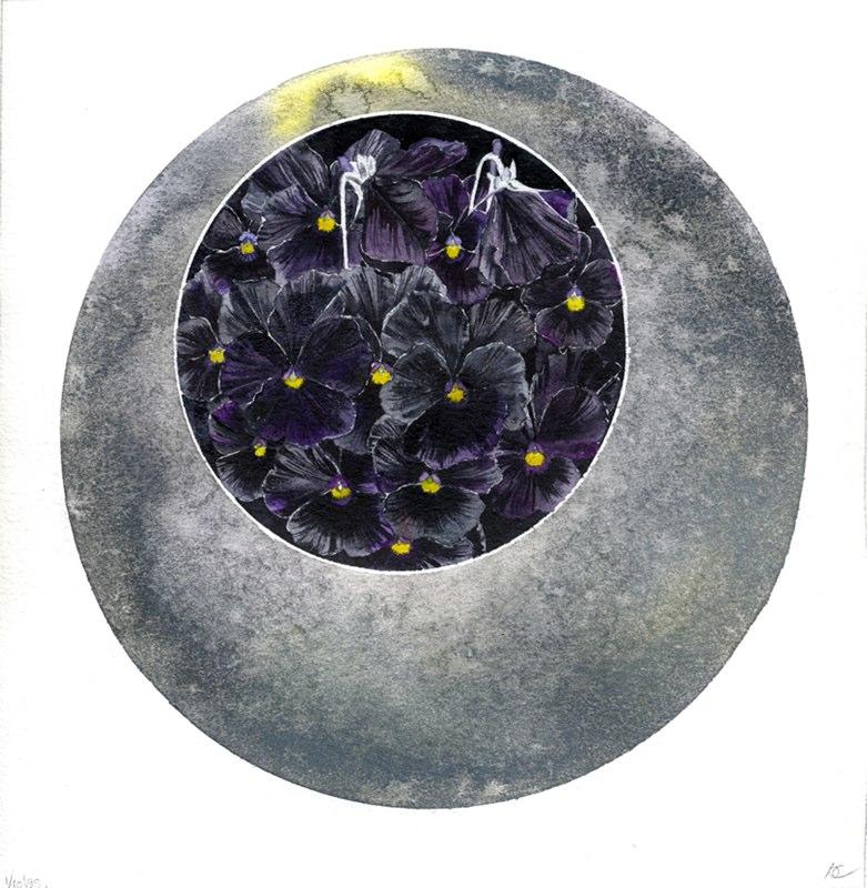 Violas 19 x 19cms, Lynda Bird Clark