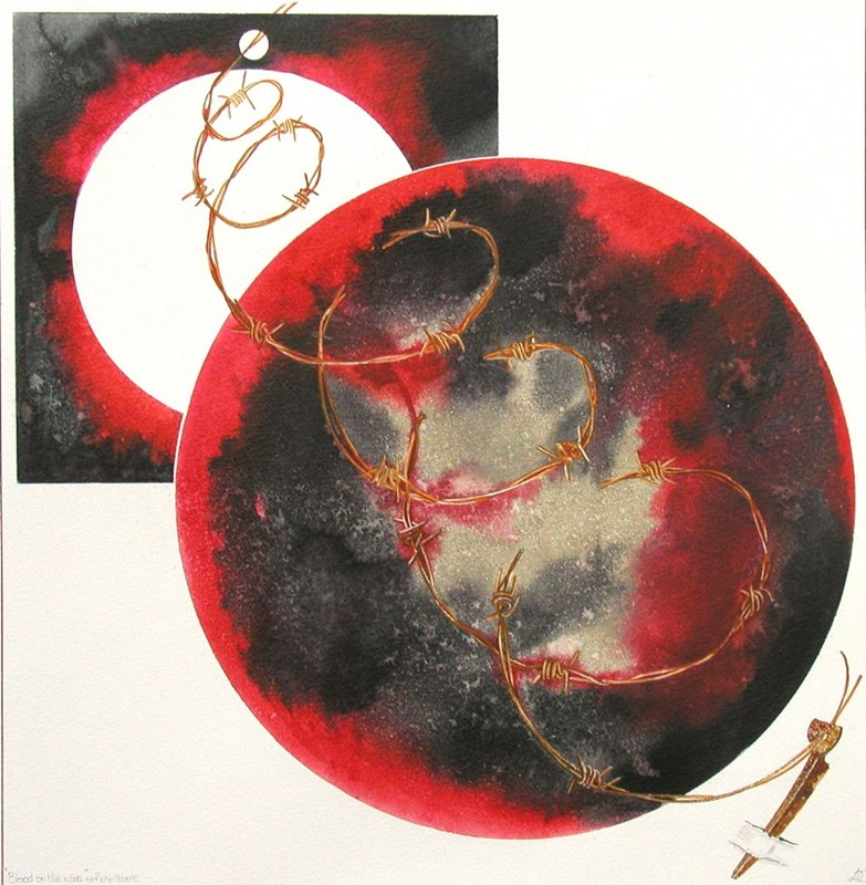 Blood on the Wire 40 x 41cms, Lynda Bird Clark