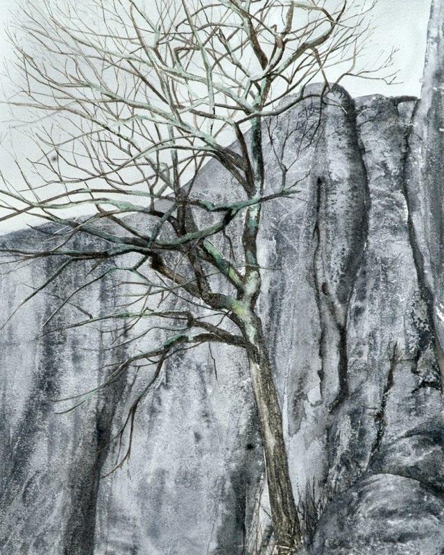 Treerock 35 x 43cms, Lynda Bird Clark
